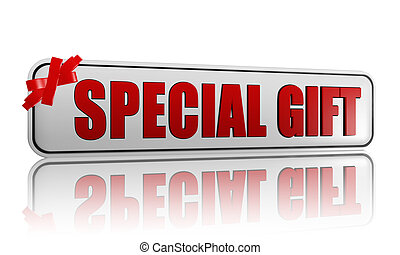 special gift banner with ribbon - 3d white banner with text...