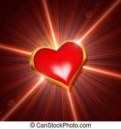 shining red heart - 3d shining golden red heart with rays of...