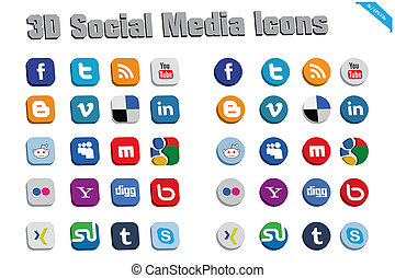 3D Social Media Icons - This?s a set of vectorized 3d icons...
