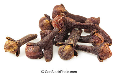 Fresh cloves over white background