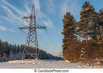 Power electric high-voltage poles in winter evergreen forest