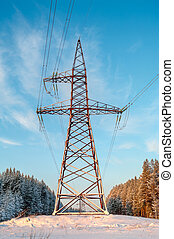 Power high-voltage pole in winter evergreen forest
