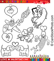 valentine cartoon themes for coloring - Valentines Day and...