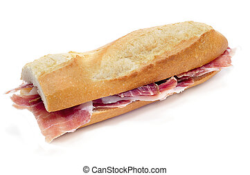spanish serrano ham sandwich - closeup of a spanish serrano...