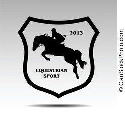 Equestrian sport - Overcoming of obstacles in horse symbol...