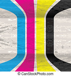 CMYK grunge background - Grunge background with four lines...