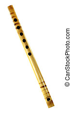 Bamboo flute of Indian subcontinent over white background