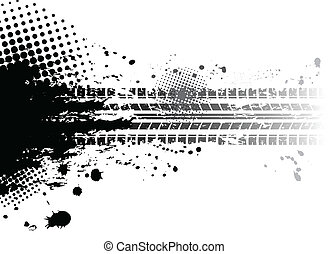 Grunge tire tracks background - Black tire track banner