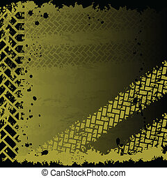 Background with tire tracks - Yellow tire track background...