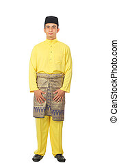 Asian muslim male with traditional Malay costume in smiling...