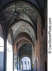 Cremona, portico - Cremona Lombardy, Italy, old portico with...