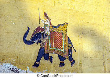 Colorful indian mural in the fort at Jodhpur showing a royal...