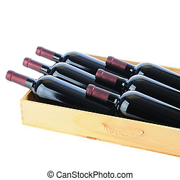 Wine Bottles in Wood Crate - Closeup of six Cabernet...
