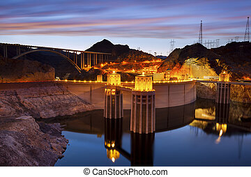 Hoover Dam. - Image of Hoover Dam and Hoover Bridge at...