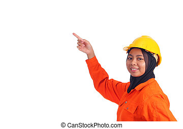 Beautiful young muslim engineer point her finger upward. Isolated on white background.