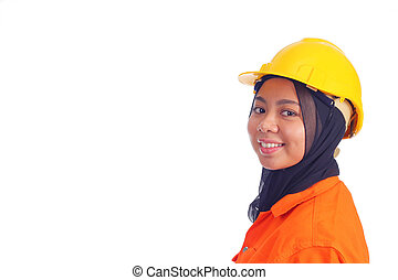 Beautiful young muslim engineer smiling with text space. Isolated on white background.