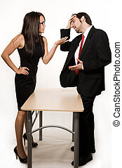 Business discussion - Attractive brunette woman and business...