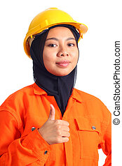 Beautiful young muslim engineer shown good sign using hand. Isolated on white background.