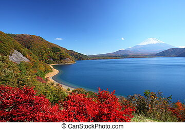 Mt Fuji and Lake Motosu in autumn, Yamanashi, Japan