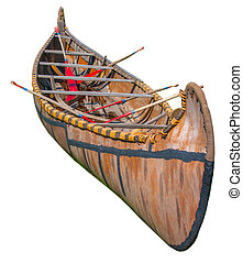 Indigenous birch bark canoe from Great Lakes isolated on...