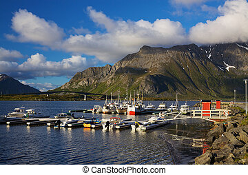 Fishing harbor on Lofoten islands in Norway on sunny day...