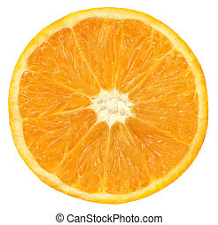 Sliced orange over white background