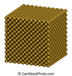 Gold Au metal, crystal structure