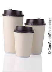 Disposable coffee cups - Three disposable coffee cups with...