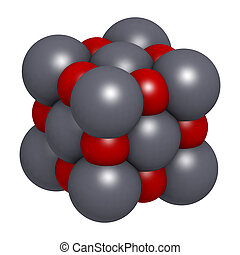 Lime (quicklime, calcium oxide, CaO) crystal structure.