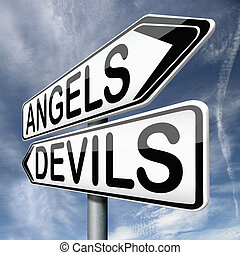 angels and devils choice between heaven and hell raod sign...