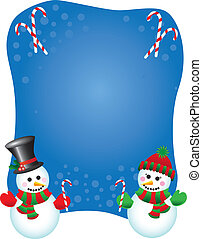Snowpeople background - Illustration of a happy snowman and...