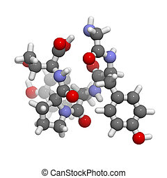Gluten exorphin A5 molecule, chemical structure. This...