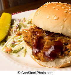 Pulled Pork Sandwich - Delicious pulled pork sandwich on bun...