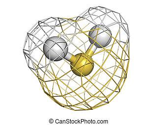 Hidrógeno, sulfide, (H2S), molécula,...