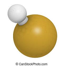 Hidrógeno, fluoruro, (HF), molécula,...