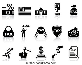 black tax icons set - isolated black tax icons set from...