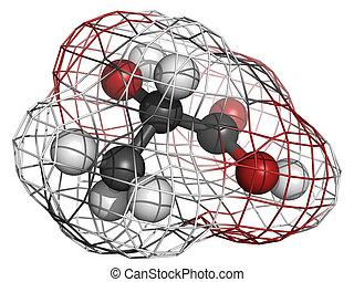 Lactic acid (milk acid, L-lactic acid) molecule, chemical...