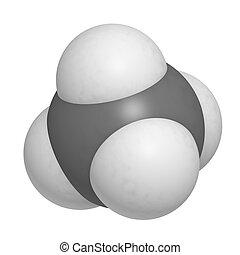 estructura, natural, gas, molécula, gas, químico, (ch4),...
