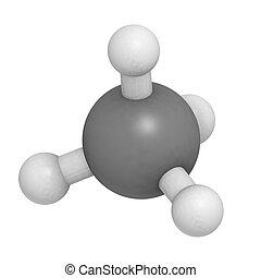 metano, (CH4), gas, molécula, químico,...