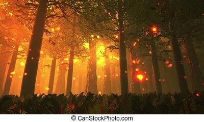 Deep Forest 5 - Deep Forest Fairy Tale Scene Fireflies 3D...