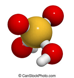 Sulfuric acid (H2SO4, oil of vitriol) molecule, chemical...