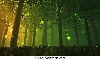 Deep Forest 7 - Deep Forest Fairy Tale Scene Fireflies 3D...
