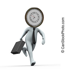 3d clock head businessman running - 3d Illustration of...