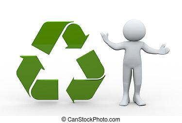 3d man and recycle icon