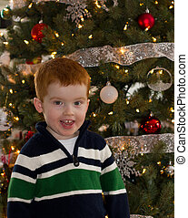 Happy boy in front of Christmas tree