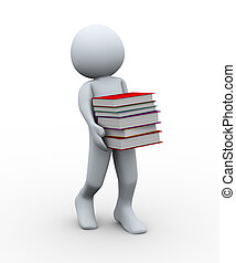 3d man with books - 3d illustration of person carrying...