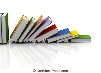 3d row of books - 3d illustration of row of books on white...
