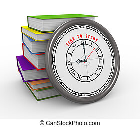 3d clock and books - time to study - 3d illustration of time...