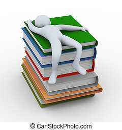 3d man sleeping on books - 3d illustration of person...