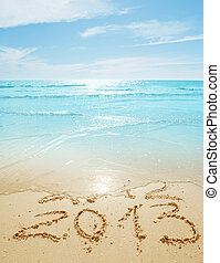 digits on the sand - digits 2012 and 2013 on the sand...